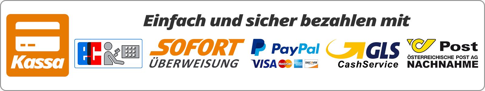 Einfach und sicher bezahlen mit SOFORT-Überweisung, PayPal, MasterCard, VISA, American Express, Discover, Nachnahme, Banküberweisung oder Zahlung bei Abholung im D-M-T Modellsport-Onlineshop