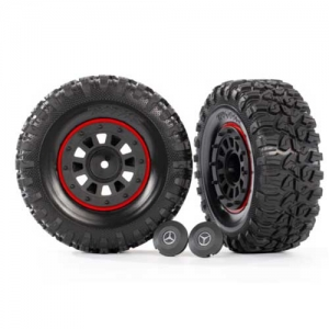 Traxxas TRX-4 TRX-6 Reifen+Felgen schwarz/rot G 63 AMG 6x6 2.2 2Stk